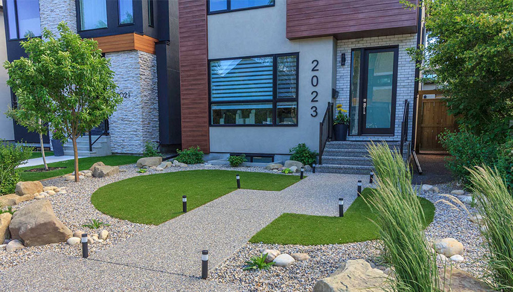 Calgary frontyard landscaping project with artificial grass also know as fake grass or artificial turf.