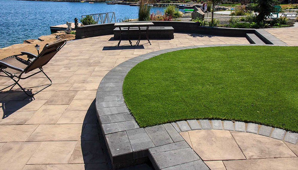 beachfront landscaping project with artificial grass