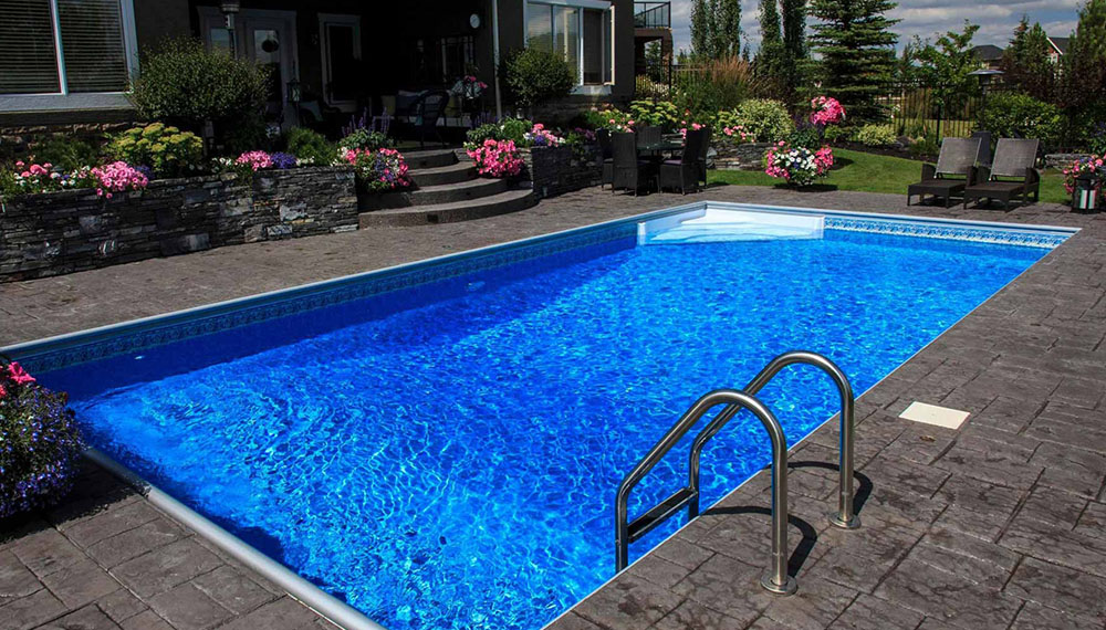 Backyard pool in Calgary landscaping project