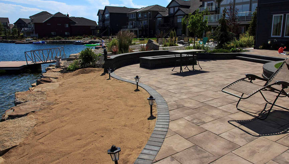 landscape design project on lakefront property
