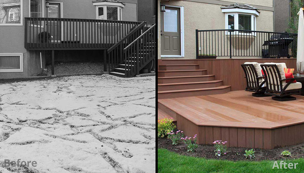 low maintenance deck in Christie Park landscaping