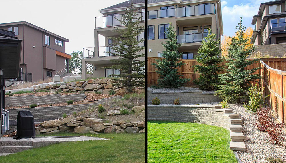 landscaping project with retaining walls and artificial grass
