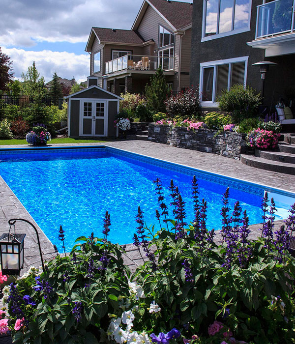 landscaped backyard with inground pool